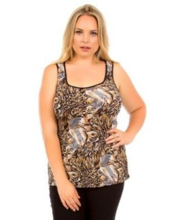 2LUV Plus Women's Open Back Printed Plus Size Tunic Tank Brown XL(929) Fashion T Shirts