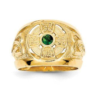 14k Yellow Gold Mens Celtic Cross Emerald Green Synthetic Stone Center Ring Jewelry