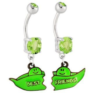 Set of Two Peas in a Pod Dangle Navel Belly Rings Jewelry