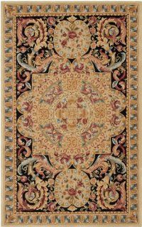 Safavieh Savonnerie Collection SAV205A Beige and Black Handmade Wool Area Rug, 5 Feet by 8 Feet