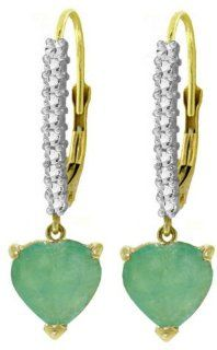 14k Yellow Gold Diamond Leverback Earrings with Emerald Heart Jewelry