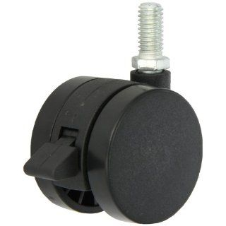 "Shepherd Ultima Series 50mm Diameter Un Hooded Twin Nylon Wheel Caster with Brake, 3/8"" Diameter x 3/4"" Length UNC16 Threaded Stem, 75 lbs Capacity, Black Finish"