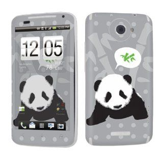 HTC One X AT&T Decal Vinyl Protection Skin Black Panda Bamboo Cell Phones & Accessories