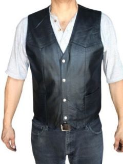 Men's Motorcycle Vest Genuine soft Leather Black syle 950 at  Men�s Clothing store