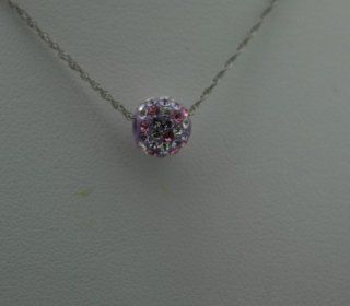 Frost Sterling Silver 8mm Grey and Pink Crystal Pendant Necklace Jewelry