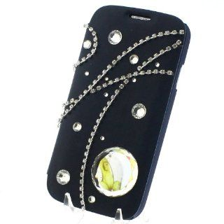 Flip Man made Black PU Leather Diamond Crystal Bling Card Wallet Case Cover for Samsung Galaxy S4