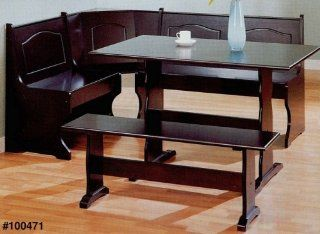 Kitchen Cappuccino Finish Wood Corner Bench Dining Table Set   Dining Room Furniture Sets