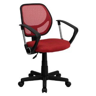 Mid Back Mesh Task Chair and Computer Chair with Arms Red   Office Chair