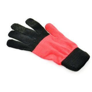 Capacitive Screen Three fingers touch Hand Warmer Gloves for iPhone/iPad Black+Red (Pair) Cell Phones & Accessories