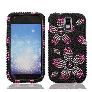 Samsung Galaxy S II S2 S 2 / SGH T989 T Mobile TMobile / Hercules Cell Phone Full Crystals Diamonds Bling Protective Case Cover Black with Hot Pink Oriental Cherry Floral Flowers Design Cell Phones & Accessories