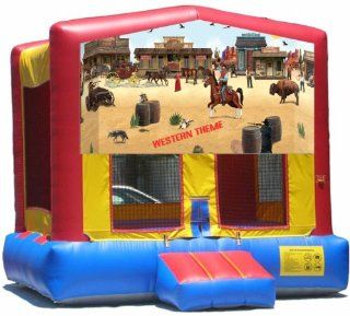 Western Theme Bounce House Inflatable Jumper Art Panel Theme Banner 13' x 13' (No Bounce House)