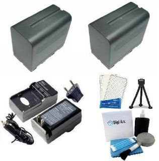 Sony NP F970 Equivalent Replacement Battery (2Pcs   Generic) + Digi Ac/Dc Rapid Charger + Mini Tripod + LCD Screen Protectors + Digi Pro Cleaning Kit For Sony DCR TRV310, DCR TRV315, DCR TRV320, DCR TRV5, DCR TRV510, DCR TRV520 Professional Camcorder  Dig