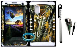 AT&T LG Optimus G E970 Hybrid 2 in 1 Big Branch Mossy Camo Plastic Snap On + White Silicone Kickstand Cover Case (Stylus Pen,Camo Earpiece & Wireless Fones' Wristband included) Cell Phones & Accessories