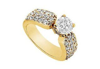 Unique Jewelry UBJ993Y14D Diamond Engagement Ring  14K Yellow Gold   1.50 CT Diamonds  Size 7 Unique Jewelry Jewelry