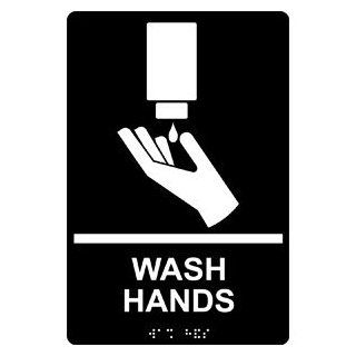 ADA Wash Hands With Symbol Braille Sign RRE 993 WHTonBLK Hand Washing  Business And Store Signs