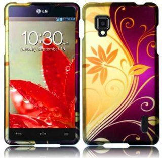VMG 3 Item Combo for Sprint Version LG Optimus G LS 970 Design Hard Cell Phone Hard Case Cover   Yellow Magenta Pink Purple Flower Floral Design Hard 2 Pc Plastic Snap On + LCD Clear Screen Saver Protector + Premium Coiled Car Charger Cell Phones & Ac