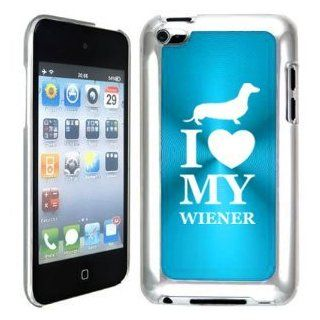 Apple iPod Touch 4 4G 4th Generation Light Blue B1665 hard back case cover I Love My Wiener Dachshund Puppy Dog Cell Phones & Accessories