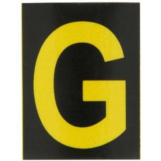 "Brady 5890 G Bradylite 1 7/8"" Height, 1 3/8 Width, B 997 Engineering Grade Bradylite Reflective Sheeting, Yellow On Black Reflective Letter, Legend ""G"" (Pack Of 25) Industrial Warning Signs"