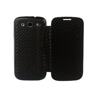 Ginovo Black Carbon Fiber Front and Back Leather Pu Flip Case Cover Housing for Samsung Galaxy S3 Siii I9300 Cell Phones & Accessories