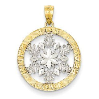 14k & Rhodium Joy/peace/love/faith Snowflake Pendant, Best Quality Free Gift Box Satisfaction Guaranteed Jewelry