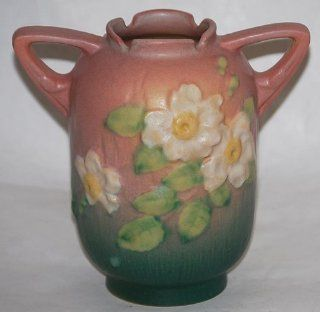 Roseville Pottery White Rose Pink Vase 979 6   Decorative Vases