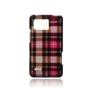 Pink Square Checker Premium Design Snap On Hard Cover Case for Motorola XT875 Droid Bionic / Targa (Verizon) Cell Phones & Accessories