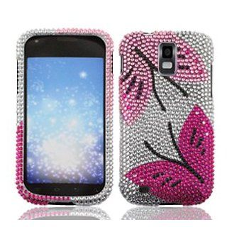 Samsung Galaxy S II S2 S 2 / SGH T989 T Mobile TMobile / Hercules Cell Phone Full Crystals Diamonds Bling Protective Case Cover Silver with Hot Pink Black Twin Butterflies Design Cell Phones & Accessories