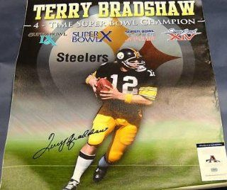 Terry Bradshaw Steelers Autographed 32x40 Canvas Aaa   Autographed NFL Art Sports Collectibles
