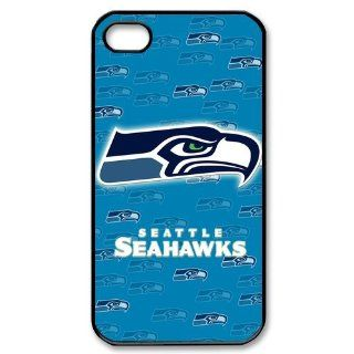 Custom NFL Seattle Seahawks iPhone 4 4s Hard Cover Case Seahawks team logo black&white Cell Phones & Accessories