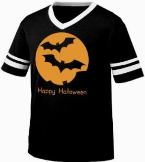 Happy Halloween Flying Bats Full Moon Mens Ringer T shirt, Cheap Easy Halloween Shirt Bats Silhouette Men's Ringer Shirt Clothing