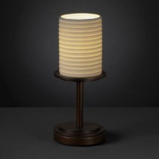 Justice Design POR 8798 10 OVAL DBRZ Dakota   One Light Short Table Lamp, Impression Option Oval Shade Impression, Choose Finish Dark Bronze Finish, Choose Lamping Option Standard Lamping
