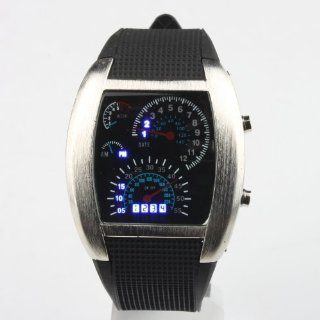 RPM Turbo Blue & White Flash LED Watch Brand NEW Gift Sports Car Meter Dial Men /Blue Light/black Band/black Watches