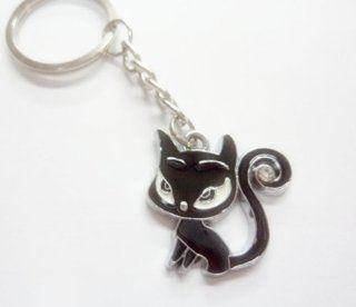 1x Cute Black Cat CAR BIKE MOTOCROSS MOTORCYCLE keychain key fob ring