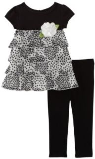 Sweet Heart Rose Girls 2 6X Polka Dot Dress with Legging, Black/White, 4 Pants Clothing Sets Clothing