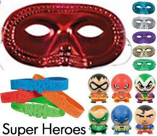 "36 Pc Superheroes Party Favor Pack (12 Metallic Half Masks, 12 Super Hero Bracelets, & 12 Super Heroes Buildable Figurines ""Superman, Batman, Robin, Joker, Flash, & Green Lantern"") Toys & Games"