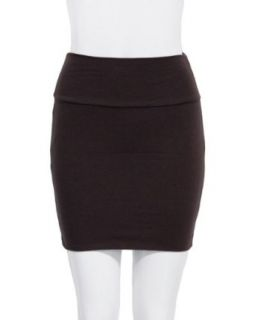 Brown Ladies Basic Cotton Spandex Mini Skirt Fold able Banded Waist