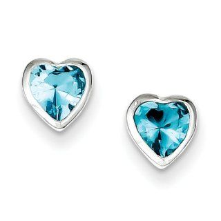 Sterling Silver Heart Shaped Light Blue Cz Earrings Stud Earrings Jewelry