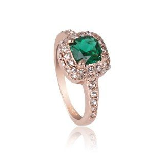 1ct created Emerald pave CZ Cubic Zirconia Wedding Engagement Ring (available in sizes 5 6 7 8 9) R355 Jewelry