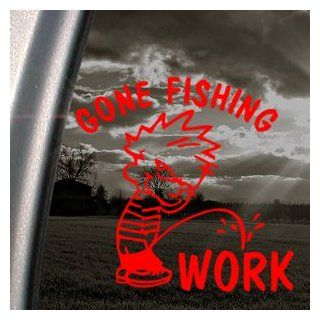 Funny Gone Fishing Red Decal Car Truck Window Red Sticker Automotive