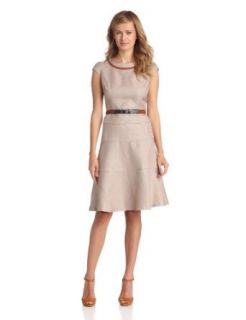 Anne Klein Women's Rattan Inset Swing Dress, Desert, 10