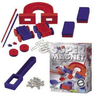 Kids Science Super Magnet Kit includes a variety of magnets in different shapes and sizes, metal nuts, paper clips and more. Kit also includes instructions and fun magnet facts. Toys & Games
