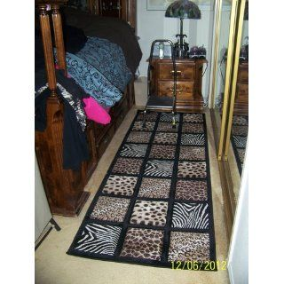 3x8' Animal Leopard Zebra Giraffe Patchwork Hallway Runner Rug Carpet   Bath Rugs