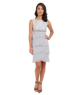 Jessica Howard Cap Sleeve Boatneck Beaded Empire Waist Dress w/ Layered Artichoke Skirt Womens Dress (Silver)