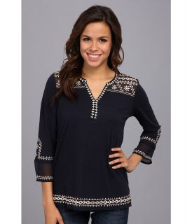 Lucky Brand Kiana Embroidered Tunic Womens Blouse (Navy)