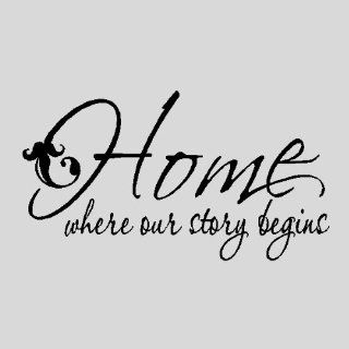 "Home where our story begins.Family Wall Quotes Words Sayings Removable Wall Lettering ( 13"" X 23""), BLACK   Wall Decor"