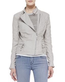 Blank Faux Leather Asymmetric Zip Moto Jacket, Taupe