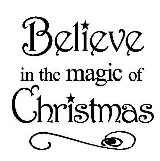 Believe in the Magic of Christmas 12x12 vinyl wall art decals sayings words lettering quotes home decor   Wall Decor Stickers