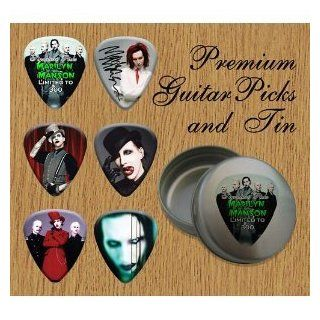 Printed Picks Company Marilyn Manson 6 Signature Double Sided Guitar Picks in Pick Tin Musical Instruments