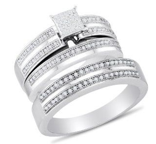 "10K White Gold Micro Pave Set Round Brilliant Cut Diamond Mens and Ladies Couple His & Hers Trio 3 Three Ring Bridal Matching Engagement Ring Wedding Band Set   Square Princess Shape Center Setting   (2/5 cttw.)   SEE ""PRODUCT DESCRIPTION"" TO"