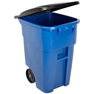 Rubbermaid Commercial FG9W2700BLUE Brute HDPE 50 gallon Rollout Trash Can with Lid, Rectangular, Blue